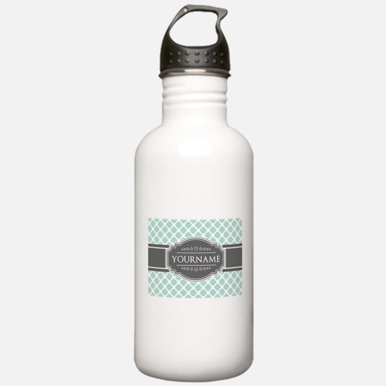 Mint and Gray Moroccan Water Bottle