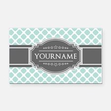 Mint and Gray Moroccan Quatre Rectangle Car Magnet