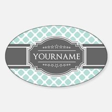 Mint and Gray Moroccan Quatrefoil M Decal