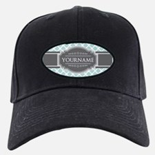 Mint and Gray Moroccan Quatrefoil Monogr Baseball Hat