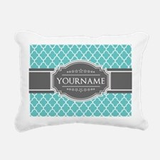 Turquoise and Gray Moroc Rectangular Canvas Pillow