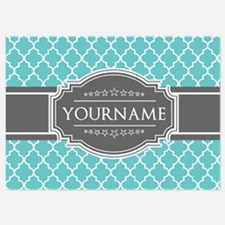Turquoise and Gray Moroccan Quatref Invitations