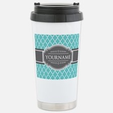 Turquoise and Gray Moro Stainless Steel Travel Mug