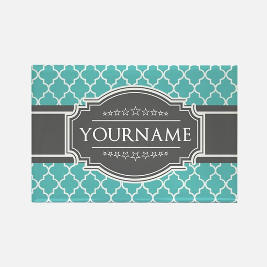 Turquoise and Gray Moroccan Quatr Rectangle Magnet