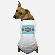 Turquoise and Gray Moroccan Quatrefoil Dog T-Shirt