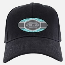 Turquoise and Gray Moroccan Quatrefoil M Baseball Hat