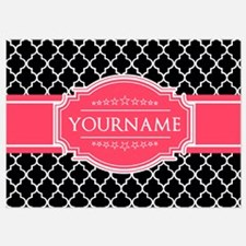 Black White Moroccan Hot Pink Name Invitations