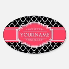 Black White Moroccan Hot Pink Name Decal