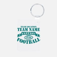 PERSONALIZED FANTASY FOOTBALL TEAL Keychains
