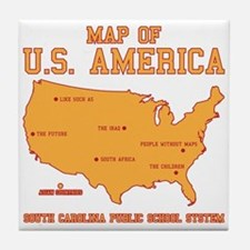 south carolina map of U.S. America Tile Coaster