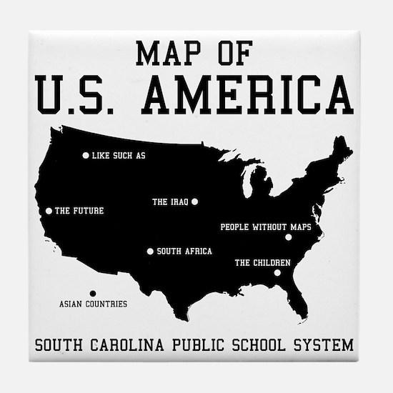 south carolina map of U.S. America Tile Coaster