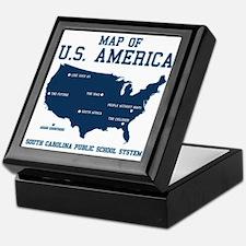 south carolina map of U.S. America Keepsake Box