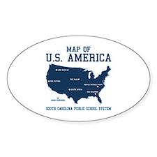 south carolina map of U.S. America Oval Decal