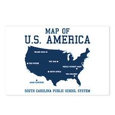 south carolina map of U.S. America Postcards (Pack