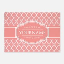 Personalized Coral Pink Quatrefoil 5'x7'Area Rug