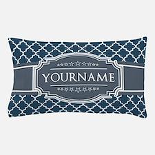 Moroccan Lattice Navy Blue Gray White Pillow Case