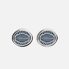 Moroccan Lattice Navy Blue Gray Whi Oval Cufflinks
