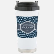 Moroccan Lattice Navy B Stainless Steel Travel Mug