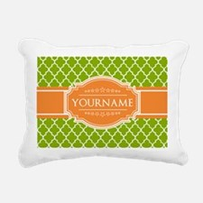 Green Quatrefoil Orange Rectangular Canvas Pillow