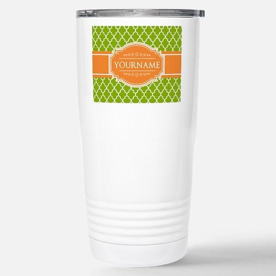 Green Quatrefoil Orange Stainless Steel Travel Mug
