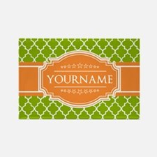 Green Quatrefoil Orange Personali Rectangle Magnet