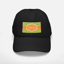 Green Quatrefoil Orange Personalized Nam Baseball Hat