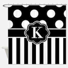 Black White Dots Stripe Monogram Shower Curtain