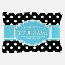 Black and White Dots Aqua Personalized Pillow Case