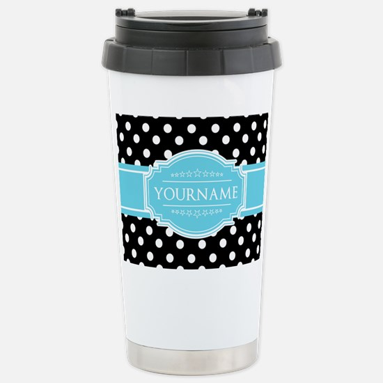 Black and White Dots Aq Stainless Steel Travel Mug