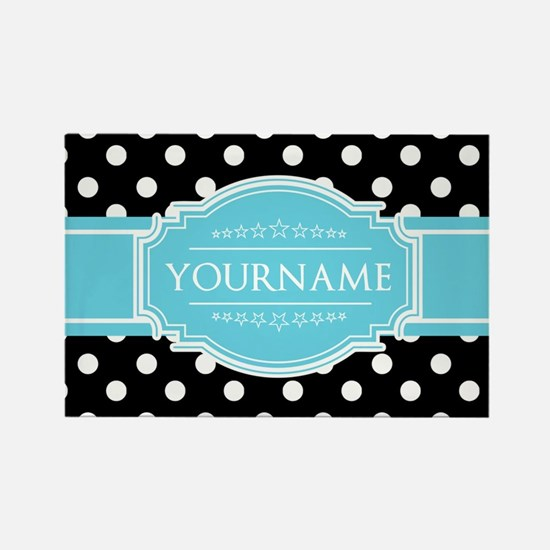 Black and White Dots Aqua Persona Rectangle Magnet