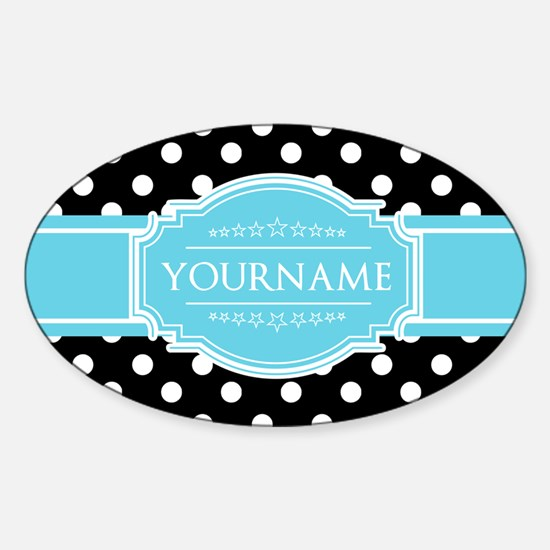 Black and White Dots Aqua Personali Sticker (Oval)