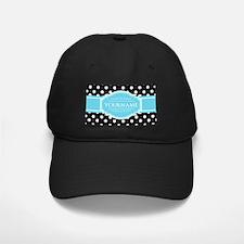 Black and White Dots Aqua Personalized N Baseball Hat
