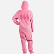 Pink Ribbon Cats for Cancer Footed Pajamas