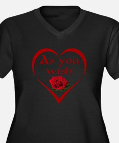 As You Wish Women's Plus Size V-Neck Dark T-Shirt