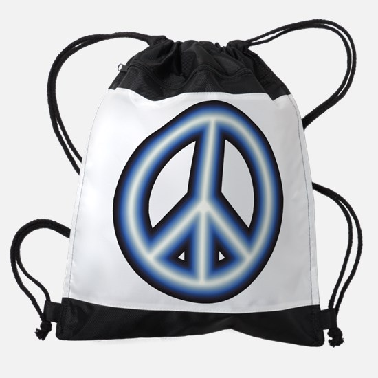 Blue Peace Symbol Drawstring Bag