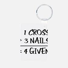 One Cross Plus Three Nails Equals Forgiv Keychains