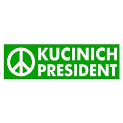 Peace, Kucinich, President car sticker