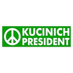 Peace, Kucinich, President car sticker