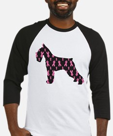 Pink Ribbon Schnauzer for Cancer Baseball Jersey