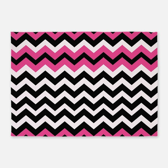 Hot Pink Black Bliss Chevron 5'x7'Area Rug