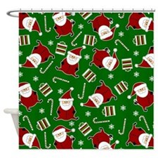 Cute Round Santa Holiday Pattern Shower Curtain