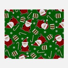 Cute Round Santa Holiday Pattern Throw Blanket