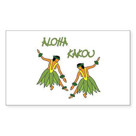 Hula dancers Rectangle Sticker