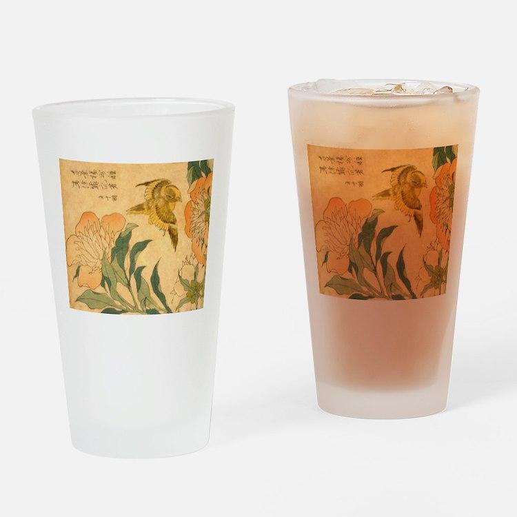 Peony and Canary by Hokusai Katsush Drinking Glass