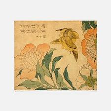 Peony and Canary by Hokusai Katsushi Throw Blanket