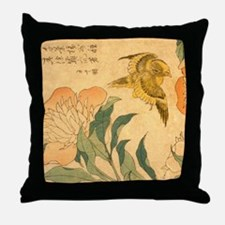 Peony and Canary by Hokusai Katsushik Throw Pillow