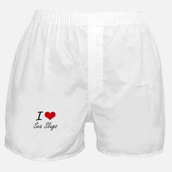 I love Sea Slugs Artistic Design Boxer Shorts