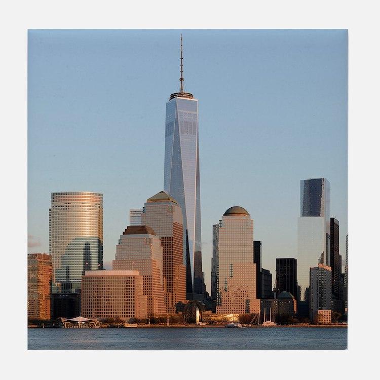 Lower Manhattan Skyline, New York Cit Tile Coaster