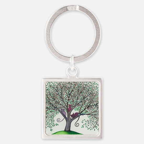 Morovis Stray Cats in Tree Square Keychain
