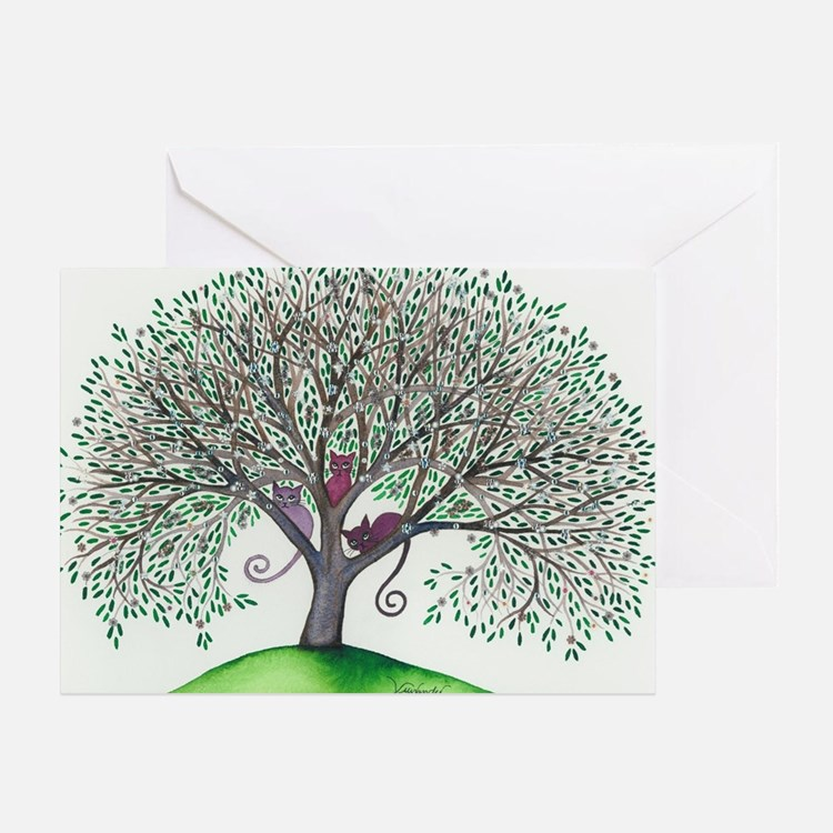 Morovis Stray Cats in Tree Greeting Card
